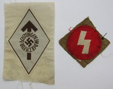 2pcs-WW2 Period Hitler Youth Bevo Embroidered Insignia