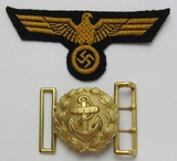 2pcs-WW2 Kreigsmarine EM Breast Eagle-Officer's Small Size Brocade Belt Buckle