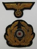 Kreigsmarine Officer's Gold Bullion Visor Cap Insignia Set