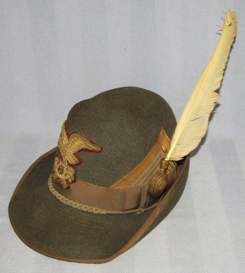 Rare WW2 Period Italian General Officer's Alpini Hat With White Feather