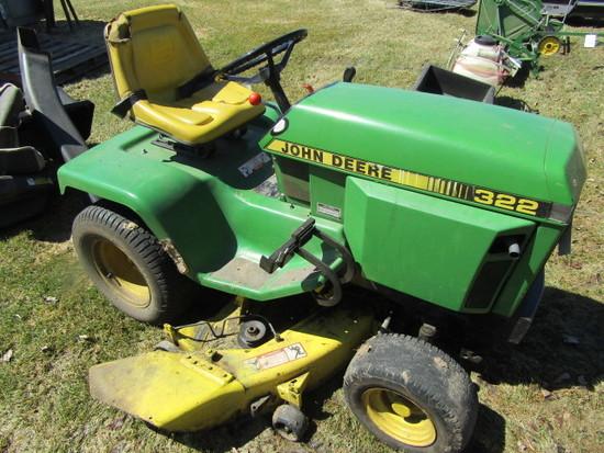 John Deere Model 322 Hydrostatic Lawn Tractor, 48 Inch Mower Deck, Rear Tow