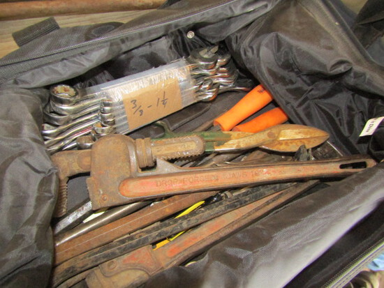 251. 3/8 Inch to 1 & ¼ Inch Wrenches, Pipe Wrench , Misc. Tools & Tool Bag, Sales Tax Applies