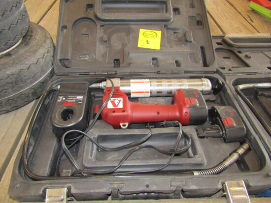 251. (2) Alemite Cordless Grease Guns with Cases, One Needs Charger, Sales Tax Applies