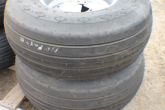 363. 257-793 (2) Unused 15.5L X 15 12 Ply Farm Highway Tires on 6 Bolt Rims