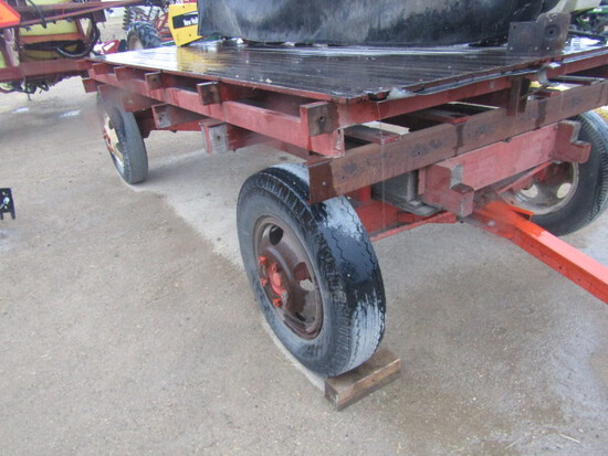 748. 397-994, 13 FT. Wooden Flat Rack on HD Truck Frame Wagon, 20 Inch Tire