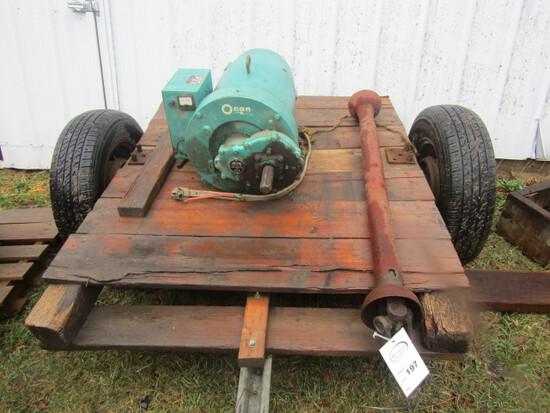 197. Onan 25 KW PTO Generator on Transport, Wooden Cover