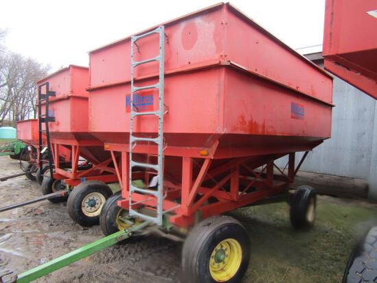 206. KIllbros 300 Bushel Gravity Box, Metal Extensions, Access Ladder, on J