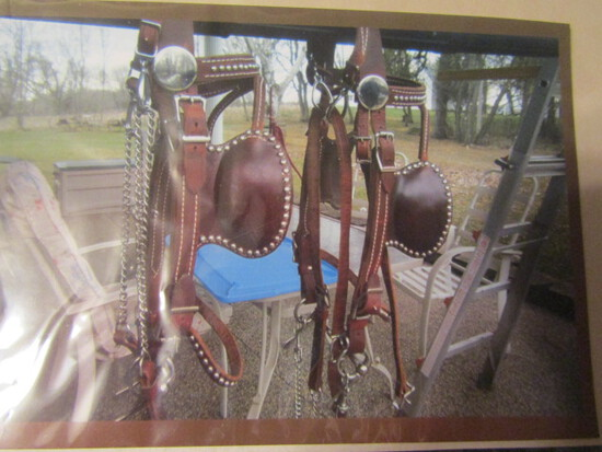 699. Unused Fancy Set of Amish Crafted Double Harness, All Leather with Whi