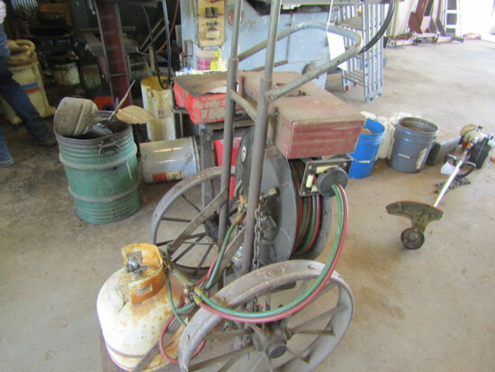 156. LP Gas Torch Set on Cart with Long Hoses and Reel