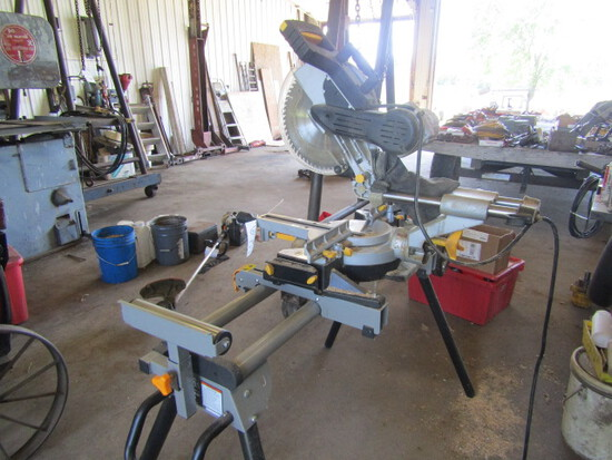 160. Chicago Wood Miter Saw on Work Stand