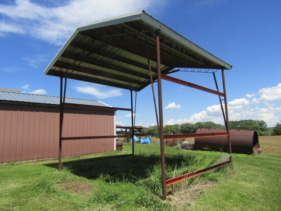 162-A. Steel Frame Car Port with Extended Sides for Taller RV
