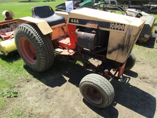 165. Case 444 Garden Tractor, Snow Blower, Rear Mounted Tiller, (2) Mower D