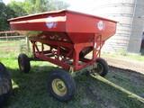 523. Flow-EZ 175 Bushel /- Gravity Box on Miller 8 Ton Four Wheel Wagon, Ex