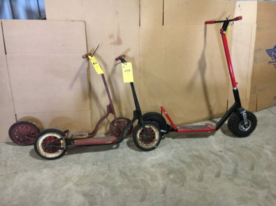 Lot of 3 antqiue push scooters