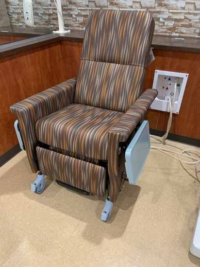 Dialysis Chair, reclining, fold away side tables, swing away arms, made by Champion Manufacturing