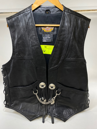 Harley Davidson Vest with Concho's & Chain Size Large