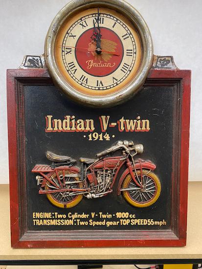 Indian Wall Clock 1914 Twin Bike