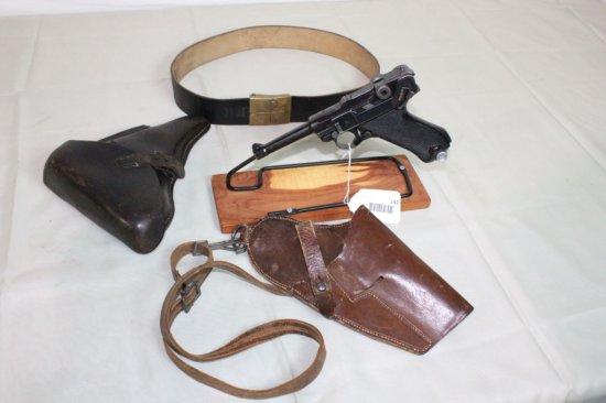 "German Luger ""Black Widow"" 9mm Pistol w/2 Holsters."
