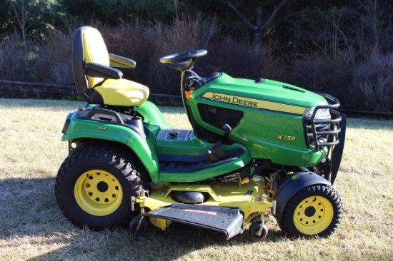 "2015 John Deere X758 Diesel 4x4 Riding Mower w/60"" Deck."