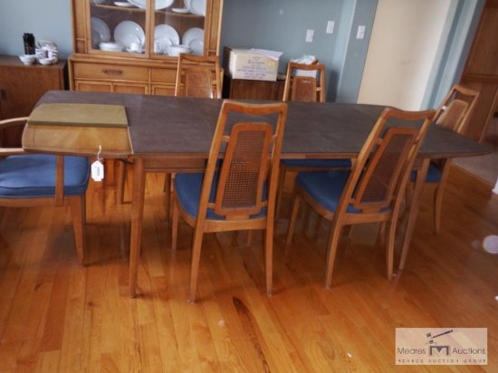 Dining table and six chairs - with table pads