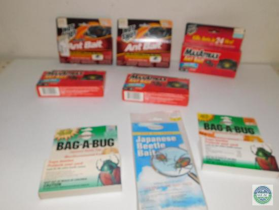 Lot of Hot Shot Ant Baits, Beetle Bait, and Bag-A-Bugs