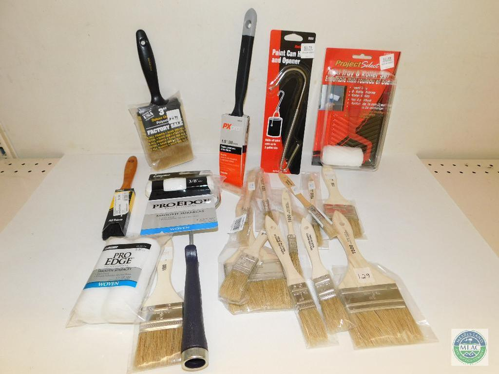 Lot: Lot of Paint Brushes, Rollers, and Paint can Opener