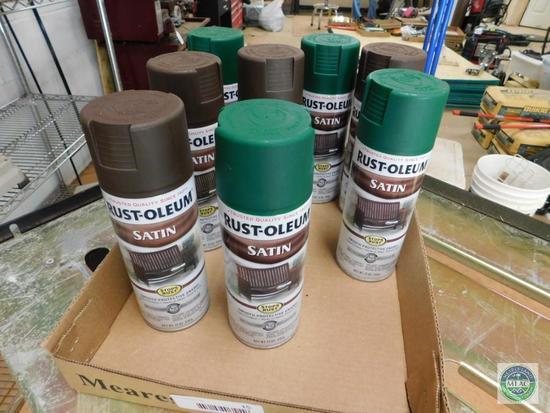 Lot Rust-Oleum Satin Spray Paint Green & Brown