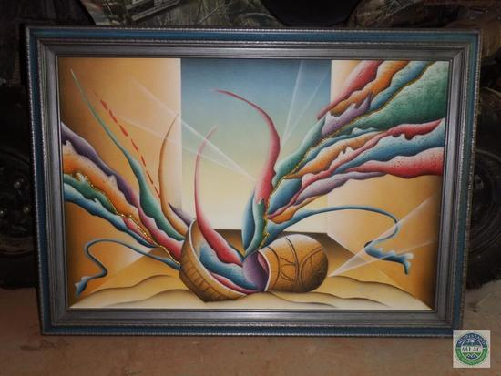 Paint on Canvas Framed Print Signed by T Kingston