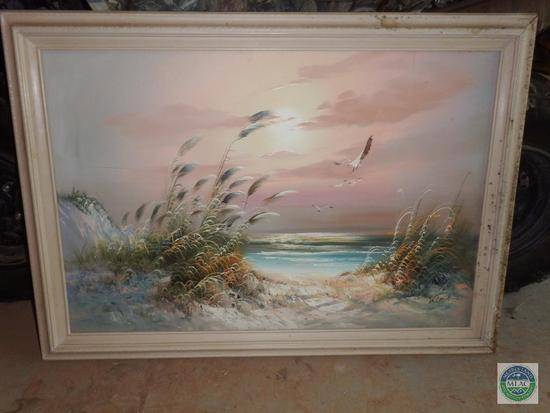 Paint on Canvas Framed Print Signed by Kent