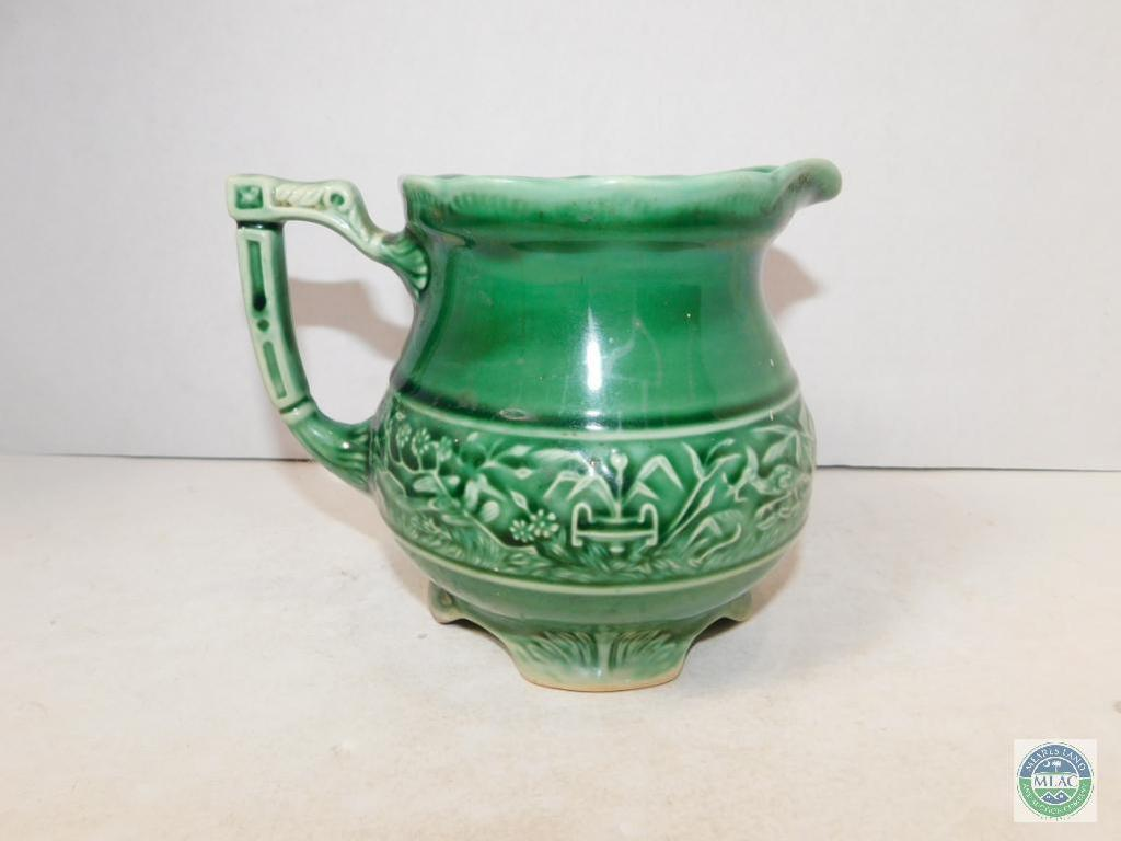 Usa Pottery Small Pitcher Green Stoneware Art Antiques Collectibles Glass Pottery Pottery Auctions Online Proxibid