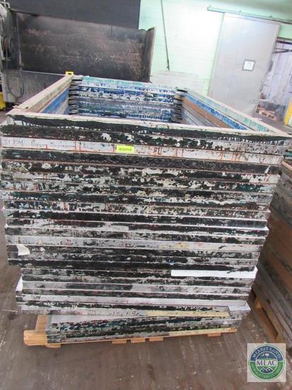Pallet of 31 aluminum MC Flock screen print frames - 67 x 44.5 inches