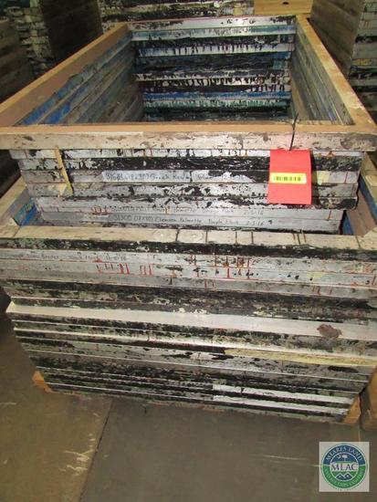 Large pallet of multiple size MC Flock aluminum screen print frames - 46 total frames