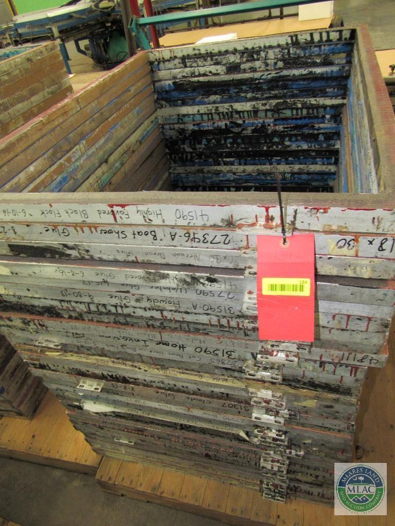 Pallet of 31 aluminum MC Flock screen print frames - 51 x 36.5 inches