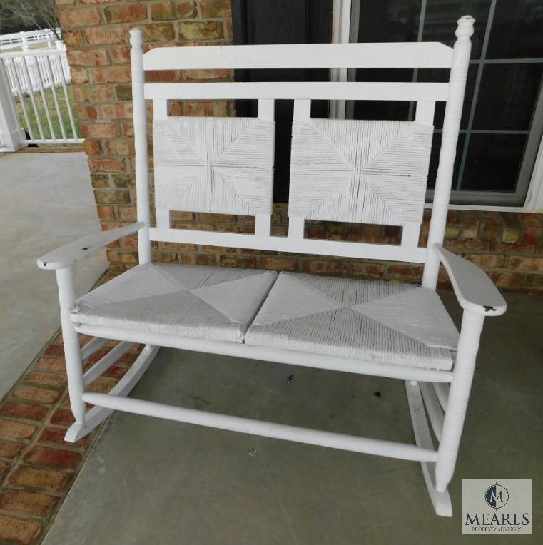 Er Barrel White Double Rocking Chair Wicker Seat