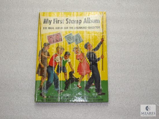 My First Stamp Album Copyright 1962 Collection Book for Beginners w/ Some Stamps