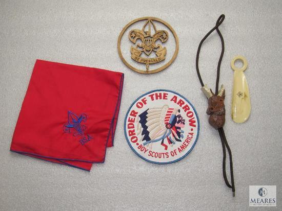 "Lot BSA Handkerchief, Order of Arrow 6"" Patch, Bolo Tie & Scout Shoe Horn"