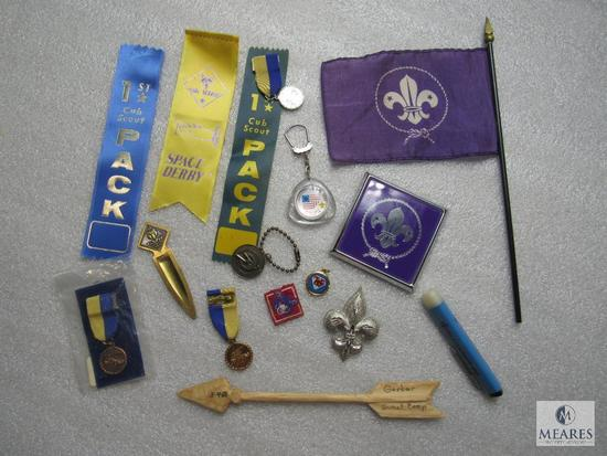 Lot BSA / Cub Scout Vintage Pins Ribbons Keychains Small Flag & Arrow