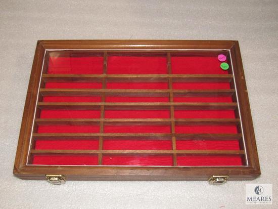 "Walnut Wood Glass Top Display Tabletop or Wall 18"" x 12"" x 2"""