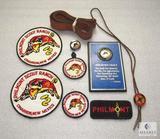 Lot Vintage Philmont Ranch BSA Patches, Plaque, Bolo Tie, & Leather Belt
