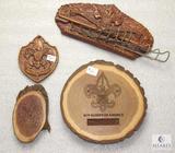 Lot Wood BSA Carved Plaques & Logo Ornament & Tie / Belt Holder