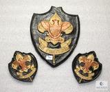 Lot 3 Vintage Boy Scouts Logo Painted Plaster Plaques Black / Gold / Bronze