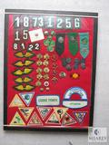 Display Box of Vintage Girl Scout Pins, Ribbons, Badges & Patches