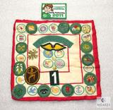 Small Handmade Quilt w/ Girl Scout Merit Badges & Patches & Pins