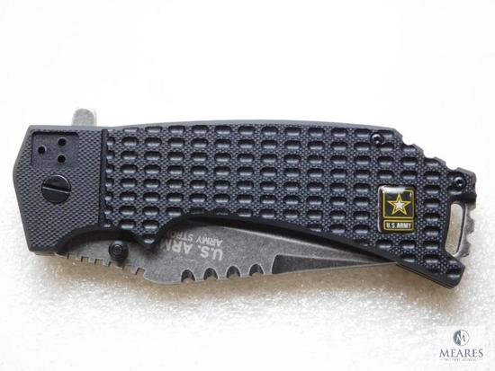 New U.S ARmy tanto tactical folder with spring assist and serrated blade with belt clip