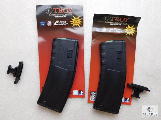 2 New Troy AR-15 5.56, 30 round magazines with pull tab