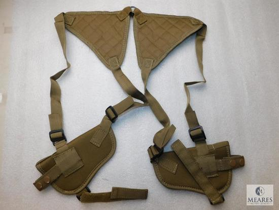 New double shoulder holster holds 2 semi auto pistols such as Colt 1911 or Glock