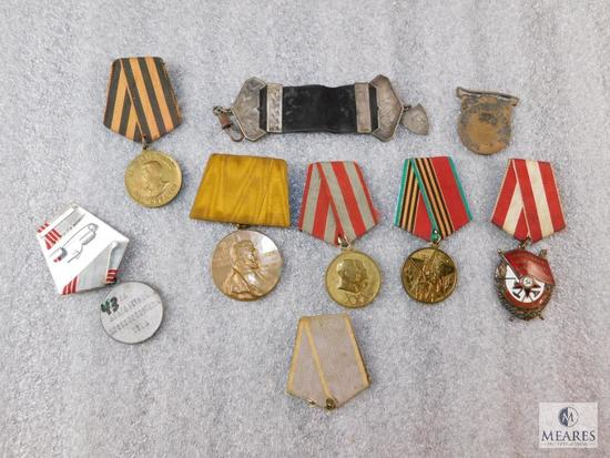 Lot of 7 Soviet Union Military Pins / Ribbons