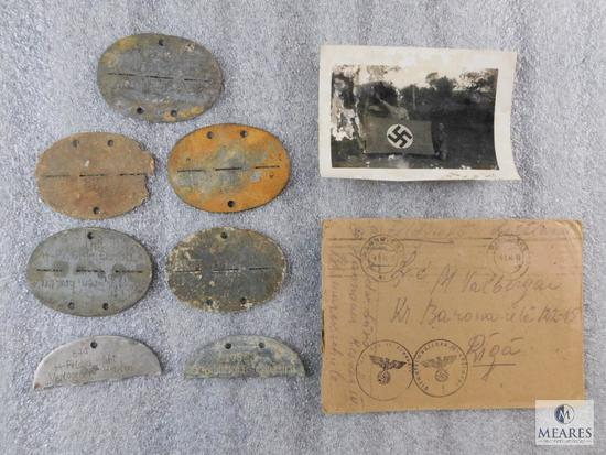 Lot German Nazi WWII Identification Tags & Envelope with Picture