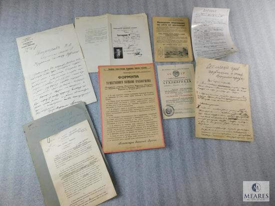 Lot of Soviet Union Red Army Documents Declarations Papers etc.