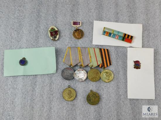 Lot Vintage Soviet Union Military Pins & Ribbons